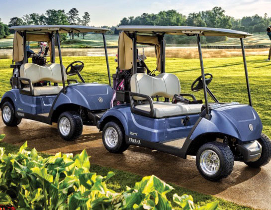golf carts on the path